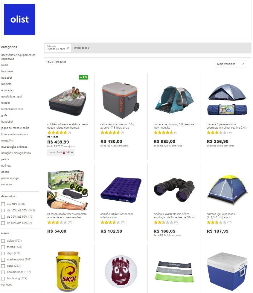 lojas de artigos esportivos e camping